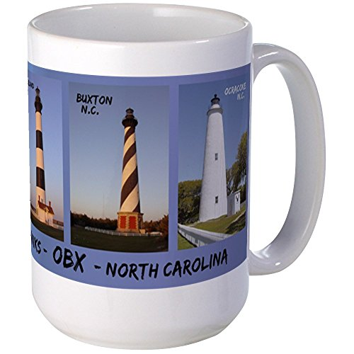 CafePress - Obx Lighthouses - Large Mug Mugs - Coffee Mug, Large 15 oz. White Coffee Cup by CafePress -