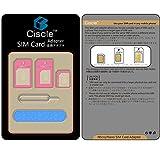 Ciscle 5 en 1 Kit Adapteur Convertisseur Carte Nano SIM À Mic/Standard (Rose)
