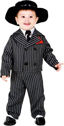 COSTUME di CARNEVALE da PICCOLO GANGSTER vestito per neonato bambino 0-3 Anni travestimento veneziano halloween (Nero Gessato Camicia)