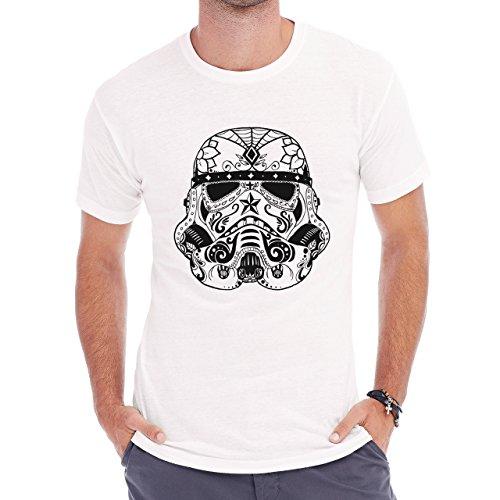 Storm Trooper Stormtrooper Edition Stroke Net Star Wars Sugar Skull Herren T-Shirt Weiß