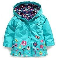 Girl's Raincoat Waterproof Hooded Coat Jacket Snowsuits (120cm(Age for 5-6Y), Blue)
