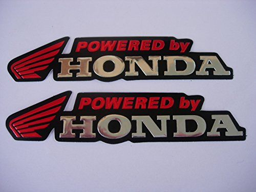 3D red / chrome HONDA stickers decals Aufkleber - set of 2 pieces - Honda Aufkleber-set Für