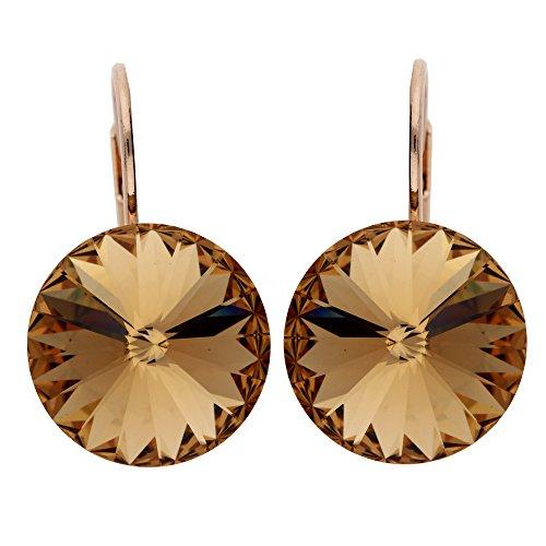 nger Ohrringe Hängend Brisur Creolen mit Topas Swarovski Elements Kristall Stein Rund Rosegold Vergoldet Rose Gold MYARGOHR-48 ()