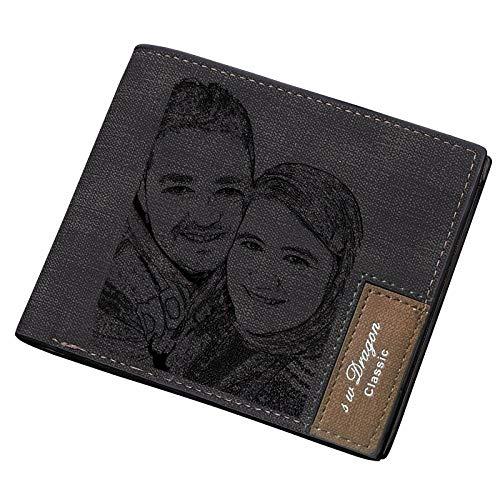 Personalisiert Foto Geldbörse Personalisierte Bild Leder Geldbeutel Brieftasche for Herren,Geschenk für Papa/Ehemann/Freund Schwarz -