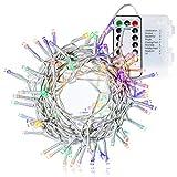 com-four LED Lichterkette - 120 LED - bunt - mit Fernbedienung und Timer - für die Weihnachtsbeleuchtung und Weihnachts-Dekoration drinnen und draußen (01 Stück - Farbwechsel 120 LED)