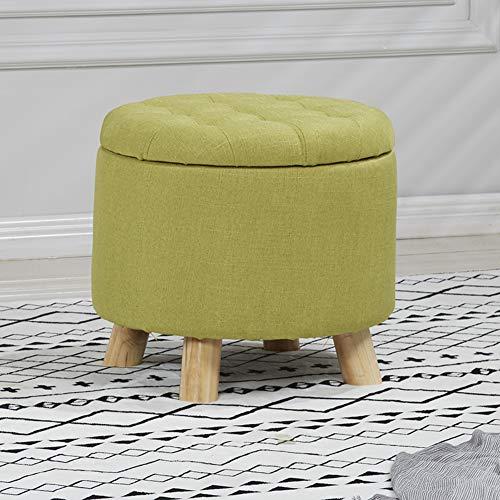 MSM Hölzerne Storage Osmanischen, Runde Osmanischen Sitz Hocker Pouf hocker Holz-unterstützung Schuh Bank Volltonfarbe Toy Box-Grün 40x45cm -