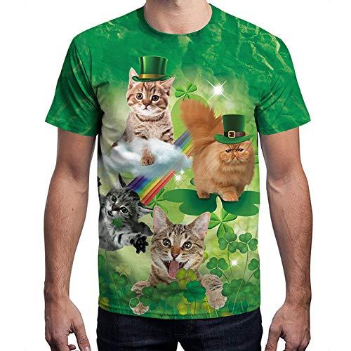DHAJIFL Neue St. Patricks Tag 3D T Shirts Männer Katze 3D Druck Männer T Shirts Grün Fashion Lustige 3D Tops Männer T Shirts Streetwear