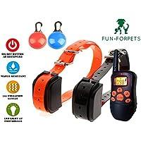 FUN-FORPETS M81 - Collar de Entrenamiento para uno o dos perros, resistente al agua, recargable y con alcance de 300 metros