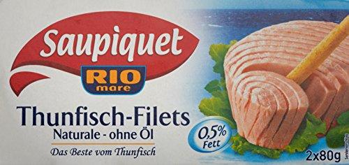 Preisvergleich Produktbild Saupiquet RIO mare Thunfisch Filets Naturale ohne Öl,  2 Dosen,  160 g