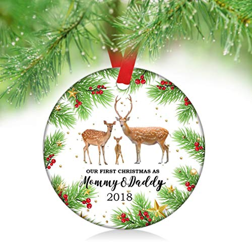 Pine Tree Branch (JamirtyRoy1 Our First Christmas as Mommy Daddy 2018 Ornaments,Pine Tree Branch Deer Family Xmas Home Decoartion,Personalized Gifts,Double Side Printed Keepsake Gift, 3
