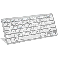 Rii BT09 teclado Bluetooth para Apple und PC , Windows 7 + 8,Linux,Mac OS X,Notebook,Laptop,Netbook,Mac Book,Tablets,Apple iPad,Samsung Galaxy Tab2,Galaxy Note,Smart Phones,Android,Iphone (Blanco)