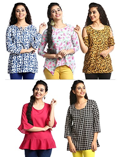 1 Stop Fashion Women's Set of 5 Combo Ready Wear 3/4th Sleeves Digital Print Heavy Crepe Top