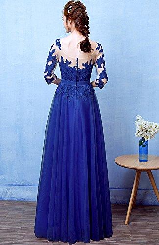 Minetom Damen Elegant A-Linie Lang Chiffon Spitze Abendkleid Ballkleid Brautjungfernkleid Bridesmaid Dress Lang Abendkleider Partykleider Blau