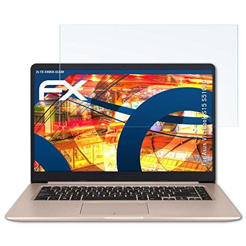 atFolix Schutzfolie kompatibel mit Asus VivoBook S15 S510UQ Panzerfolie, ultraklare & stoßdämpfende FX Folie (2X)