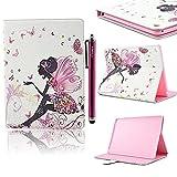 iPad 2 iPad 3 iPad 4 Hülle, Deenor Big butterfly girl Design Tasche PU Leder Abdeckung Stand Schutzhülle für Apple iP