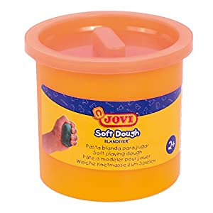 Jovi - Soft Dough Blandiver, Estuche de 5 Botes, 110 g, Color Naranja flúor (45005F)