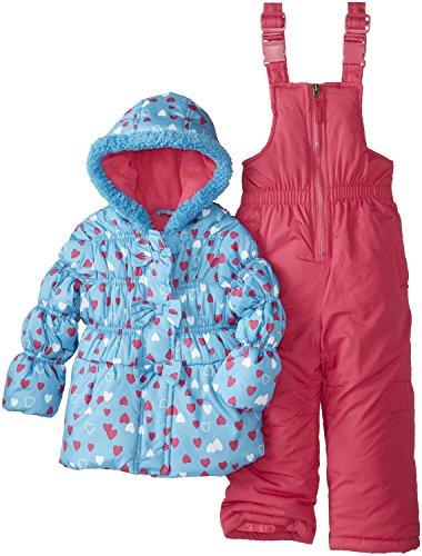 Pink Platinum Baby Mädchen (0-24 Monate) Daunenjacke Schneeanzug, Paisley Gr. 92, Türkis - Türkis (Ruffle Bib)