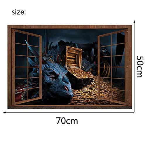 Stereo 3D gefälschte Fenster wandaufkleber Halloween schätze bösen Drachen Menschen Aufkleber Wohnzimmer Schlafzimmer Dekoration, 70 * 50 cm, Kleine ()