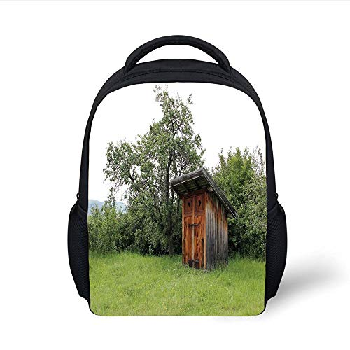 Outhouse,Wooden Little Hut Barn Shed Cottage in Nature Forest Image,Forest Green Light Green Brown Plain Bookbag Travel Daypack ()
