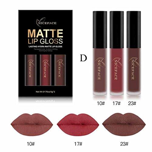3 Couleurs Brillant à Lèvres ,Sisit Nouvelle Mode Imperméable à l'eau Mat Liquide Rouge à Lèvres Cosmétique Kit de Brillant à Lèvres (Modèle D)