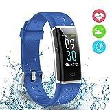 Fitness Tracker, Ausun 130 Plus Farbe Touchscreen Schrittzähler Uhr, TFT LCD Einstellbare Helligkeit Aktivitäts-Tracker mit Pulsmesser, IP68 Wasserdicht GPS Smart Armband mit 14 Trainingsmodi für iOS & Android, Blau