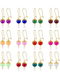Nakabh Multicolor Glass Bead Combo Of 12 Earrings For Women