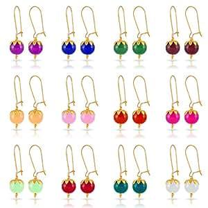Kiwi Kreation 12 Pairs Multicolor Glass Beads Earrings for Women