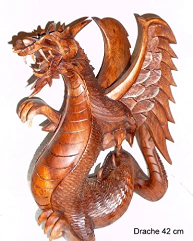 Winged Dragon Dragon Carved Wooden Figure of 22 x 18 x 12 CM