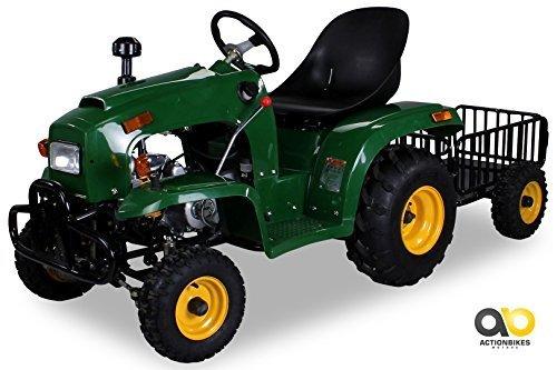 *Actionbikes Motors Kindertraktor 110 cc mit Anhänger (Grün)*