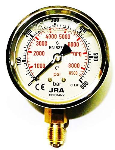 JRA-Longlife-Glyzerin-Manometer 0-600 bar/psi NG63 Anschluss unten G1/4