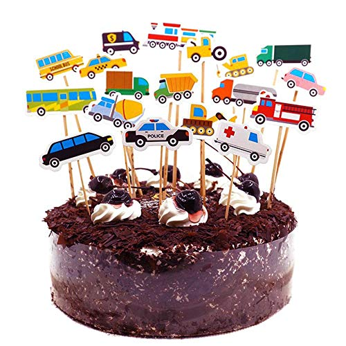 fllyingu Cake Topper Holz Geburtstag Dekoration Cartoon Tier Auto Bild Kuchen Dekoration für Kinder Dusche Geburtstagsparty Liefert, Luxus Zylinder Souvenirs