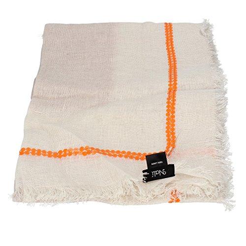 NALì sciarpa pashmina beige arancione fucsia lino (Arancione)