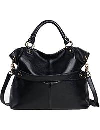 Sonyabecca -Bolso de piel para mujer, auténtica piel suave, diseño clásico/vintage, bolso hombro cruzado