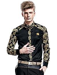 FANZHUAN Camisa Flores Hombre Estampadas Elegantes Negro Slim Fit Non Iron
