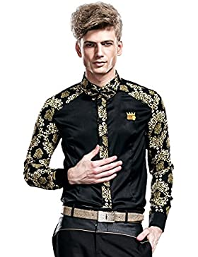 cf3b04f9052da8 [Sponsorizzato]FANZHUAN Camicie Uomo Eleganti Maniche Lunghe Slim Fiori  Classica Casual No Stiro
