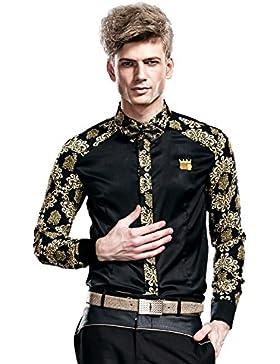 FANZHUAN Camicie Uomo Eleganti Maniche Lunghe Slim Fiori Classica Casual No Stiro