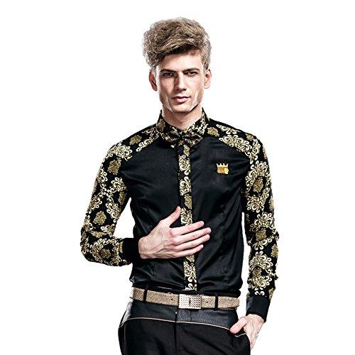 FANZHUAN Camicia Uomo Lunga Elegante Slim Fiori Maniche Lunghe Casual No Stiro