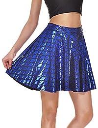 Hibote Falda Básica Mujer Minifalda Casual Falda Sirena Escamas Pescado Elástico
