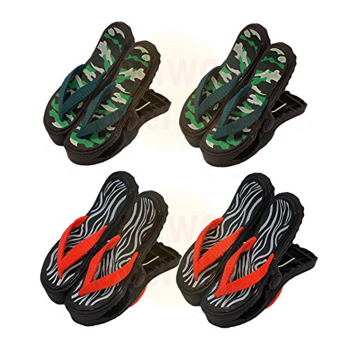 wiwo 4Paar Sandale Flip Flop Handtuch Clips–2x Camouflage & 2x Zebra Print