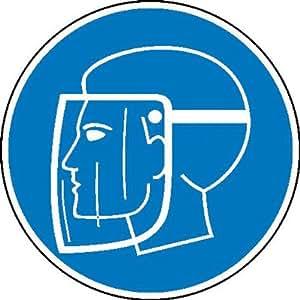 Gesichtsschutzschild benutzen Gebotsschild, Größe 40,00 cm ¥, Alu geprägt