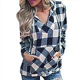 Chemise Tops Femmes, Xinantime Automne hiver Pull Femme T-Shirt à Capuche à Carreaux Blouse à Manches Longues Haut
