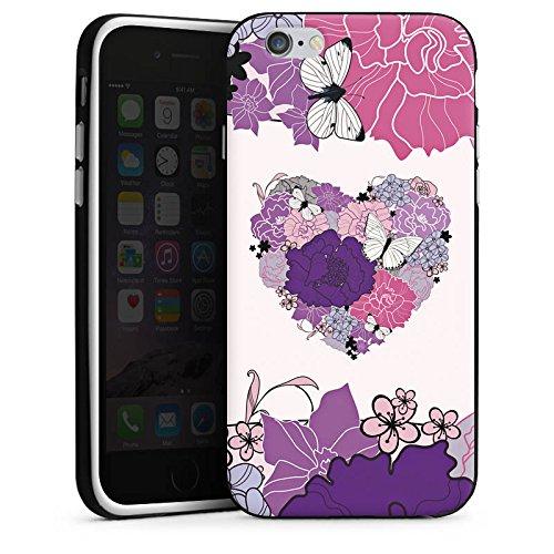 Apple iPhone X Silikon Hülle Case Schutzhülle Herz Schmetterling Love Blumen Silikon Case schwarz / weiß