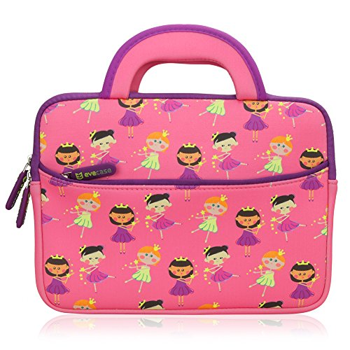 Tablet Tasche | Evecase Neopren Zuckersüß Prinzessin Party Kinder Tablet Schutzhülle mit Handgriff für Tablets in 8.9-10.1 Zoll - Pink/Lila L