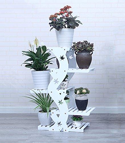 Pflanzenstandplatz Fester hölzerner Rad-Blumen-Stand passend für Wohnzimmer-Balkon mit Rädern/ohne Räder (Farbe : Weiß, größe : Without Wheels 90cm)