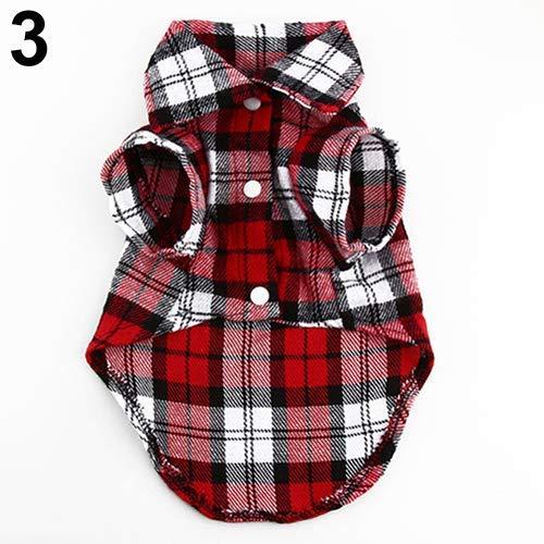 CricTeQleap Haustier-Kleidung, Kleiner Hund Plaid Shirt Revers Mantel Katze Jacke Kleidung Kostüm Top Bekleidung Red M