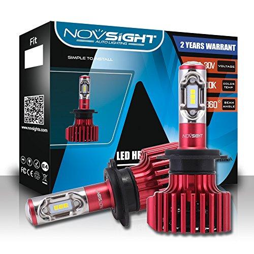 NOVSIGHT H7 60W 10000LM LED lampadine del faro Kit Bulbi Auto Luci 6000K Bianco Lampade Headlight Bulb,CSP LED Chips , 2 ANNI DI GARANZIA