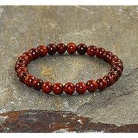 Pulsera de Sándalo Rojo de 6 mm, Pulsera Minimalista boho chic de apilación, Cuentas de Madera Natural, Meditación, Budista Yoga, Sándalo aromático rojo de la India - Tranquilidad - Protección