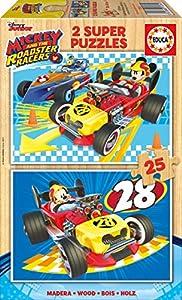 Mickey and the Roadstar Racers Puzzle de Madera Doble, 2 x 25 Piezas, 31.5 x 21.6 x 4.6 (Educa Borrás 17234)