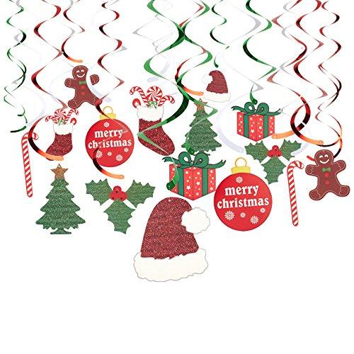Juvale 30er zu Hängen Weihnachtsschmuck-Festive Xmas Swirl Dekorationen, Winter Wonderland Party Decor, Verschiedene Designs und Farben (Decor Winter Wonderland Party)