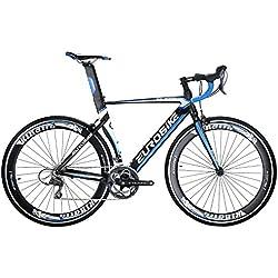 Eurobike XC7000 - Bicicleta de carretera ligera de aluminio de 54 cm, 16 velocidades, 700C, para carreras, azul